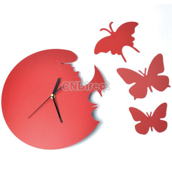... Decor Home Art Design Modern Style Time Large Butterfly Black/Red