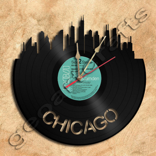 Wall Clock Chicago Theme Vinyl Record clock Upcycled Vinyl
