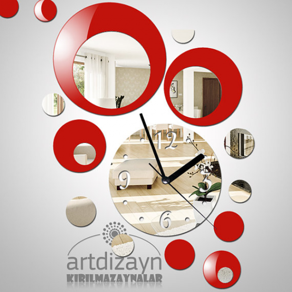 Modern wall clock, red color acrylic with mirror, decorative wall ...