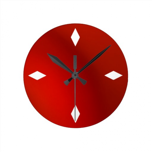 sleek retro modern red satin wall clock | Zazzle
