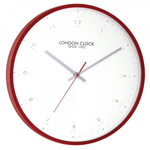 London Clock Company Contemporary Red Case 31Cm Wall Clock | Adelbrook ...