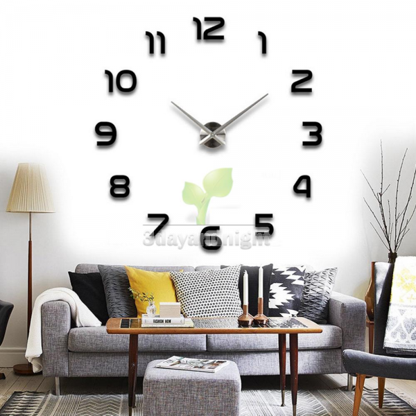 DIY Large Wall Clock 3D Sticker Metal Big Watches Home Decor Gift ...