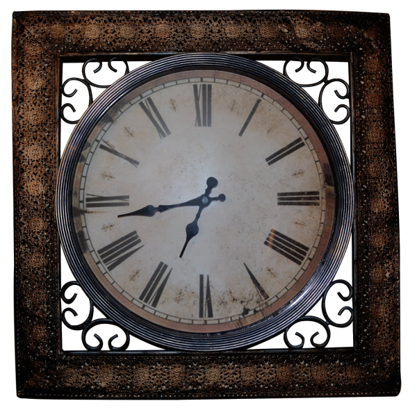 Square Antique Metal Wall Clock 16.50