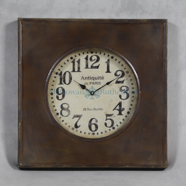 Small Square Antiqued Metal Wall Clock With Glass Front - Wall Clocks ...