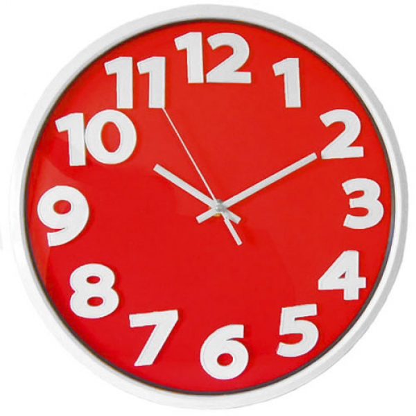 Round Modern Wall Clock Home Office Kitchen Bar Beauty Salon - RED ...