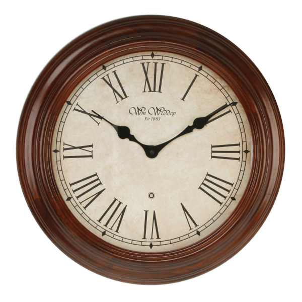 Solid Wood Wall Clock Walnut Fenchurch 40cm Roman