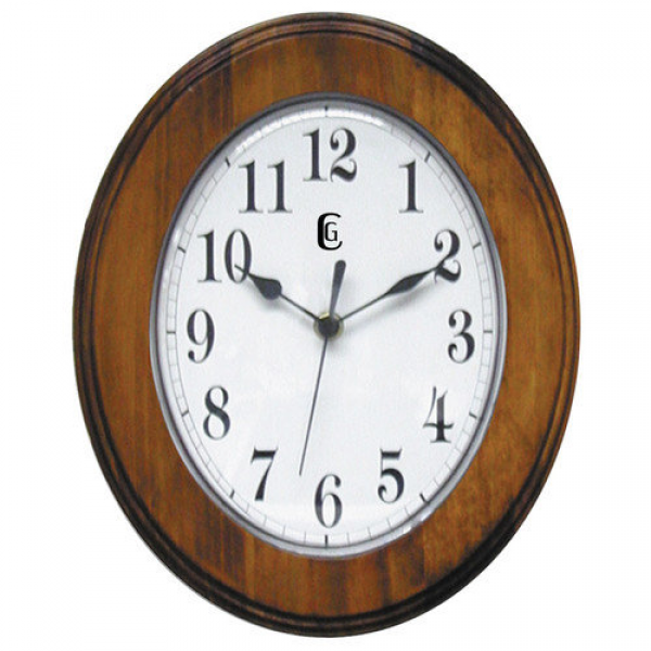 Geneva Clock 11.5'' Oval Solid Wood Wall Clock