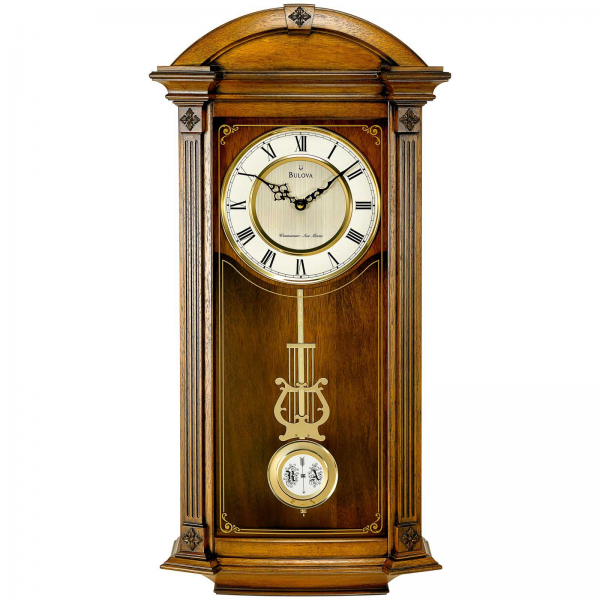 Bulova Hartwick BV309 Solid Wood Wall Clock