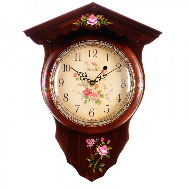 New 2014 European style wall clock solid wood rural clock Personality ...