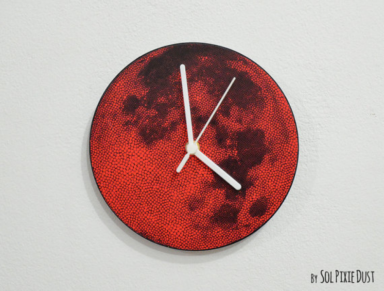 Red Dot Full Moon Wall Clock by SolPixieDust on Etsy