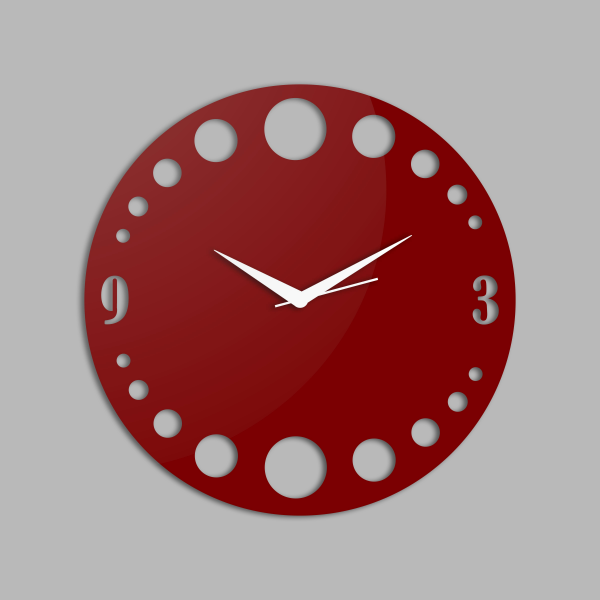 Creative Width Polka Dots Style 2 Red Wall Clock