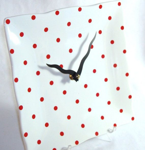 Red and White Polka Dot Porcelain Plate Wall Clock by makingtimetc, $ ...