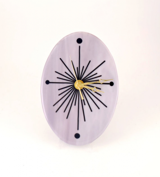 Oval Wall Clock - Modern Design - Lavender Glass - Living Room Wall ...