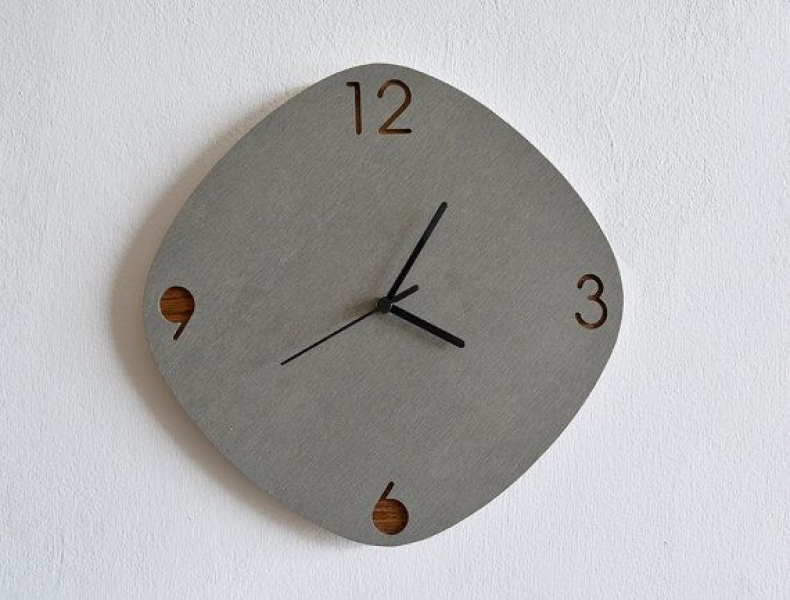 Concrete and Wood Oval Rhombus Wall Clock - Modern Wall Clock