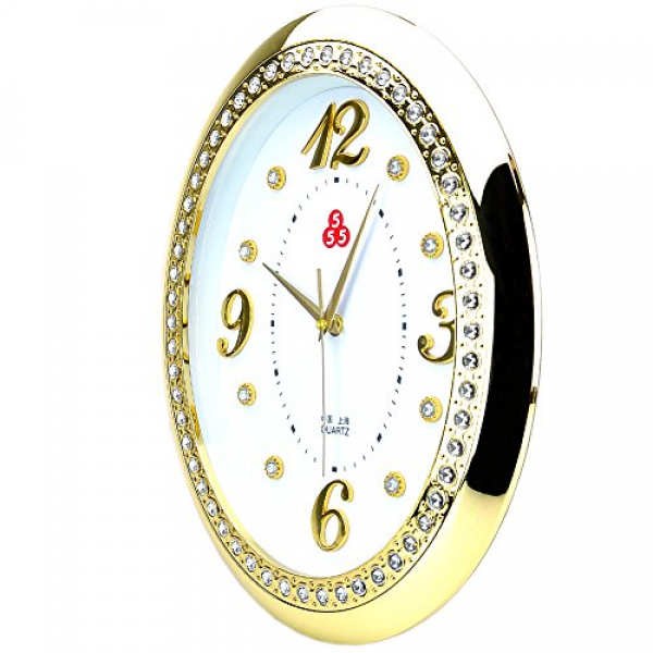 ... Ticking Silent Quartz Analog Digital Golden Crystal Oval Wall Clock