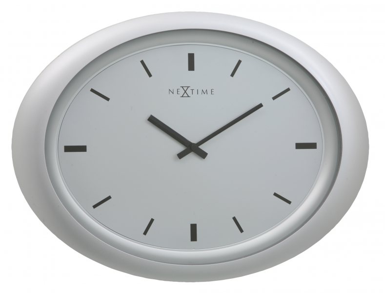 NEXTIME WALL CLOCK OVAL SILVER