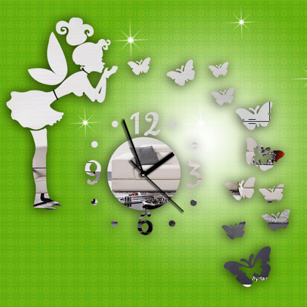com : Buy New Modern Style Butterfly Fairy DIY Mirror Wall Clock Wall ...