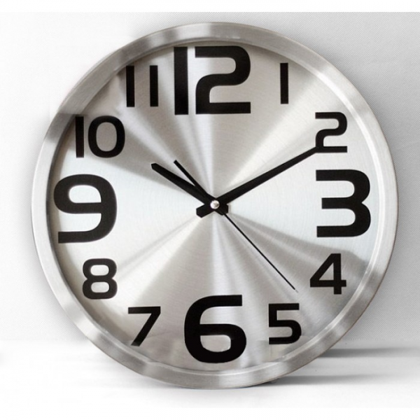 Contemporary Stainless Steel Large Numbers Wall Clock | Clock Central