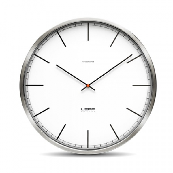 One45 Stainless Steel Wall Clock with White Index Dial