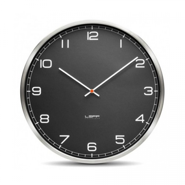 One45 Stainless Steel Wall Clock with Black Arabic Dial