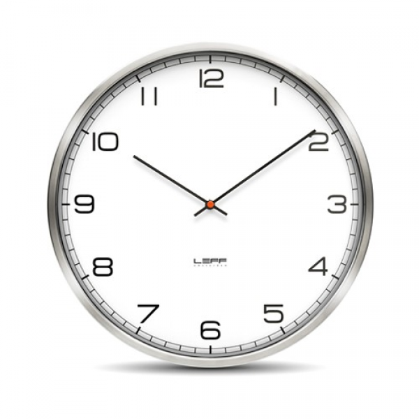 One45 Stainless Steel Wall Clock with White Arabic Dial
