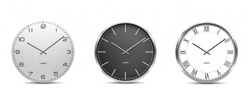 One45 Stainless Steel Wall Clock with White Arabic Dial Leff Amsterdam ...