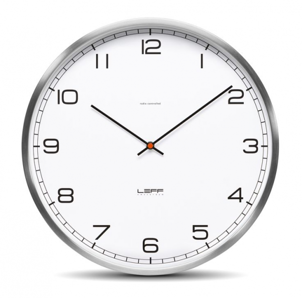 One45 Radio Controlled Stainless Steel White Arabic Wall Clock. #Clock ...