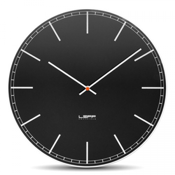 Leff Amsterdam One55 Glass Wall Clock with Black Index Dial | YLiving