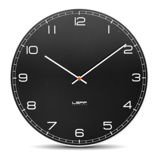 Leff Amsterdam One55 Glass Wall Clock with Black Arabic Dial | YLiving