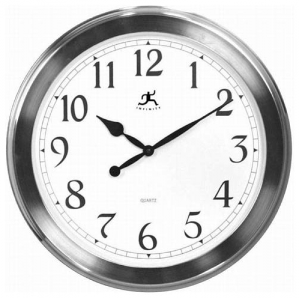 Faux Brushed Nickel Finish Wall Clock - Modern - Clocks - by Bellacor