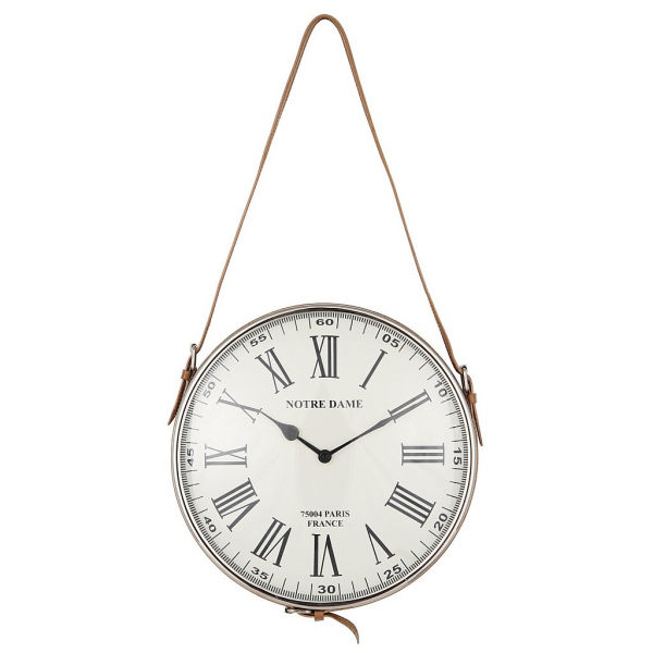 Vale Furnishers - Nickel Finish Leather Hanging Wall Clock