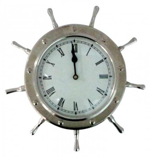 ... . Hangs on wall. Clock features a nickel finish for a silver color