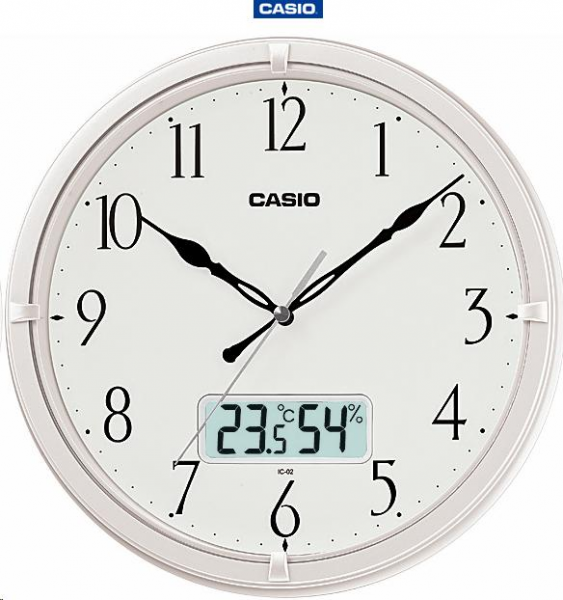 Clocks - Casio Analog and Temperature Gauge Wall Clock (IC-02-7DF ...
