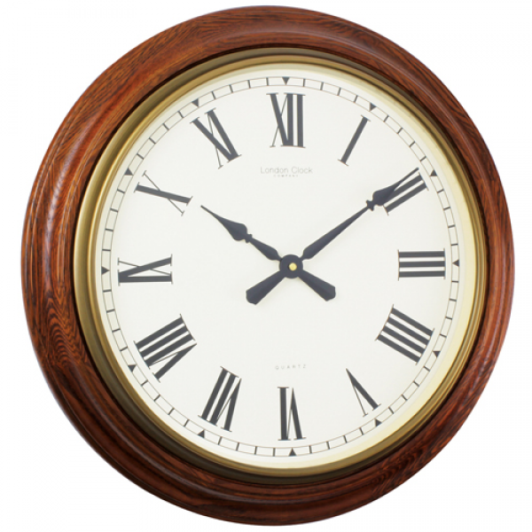 Traditional oak wooden wall clock 54cm