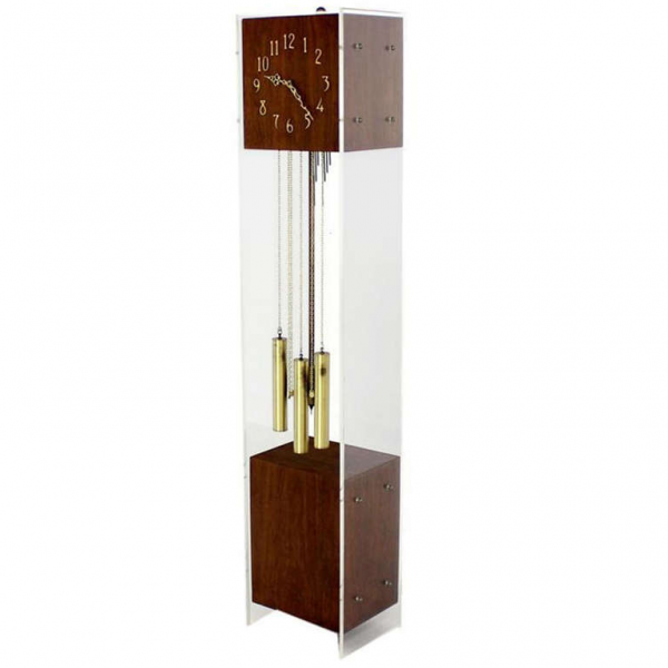 Mid-Century Modern Walnut Lucite Grandfather Clock with Chime at ...