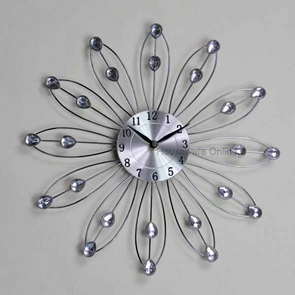 ... diamante jewelled crystal effect daisy silver wall clock 110 | eBay