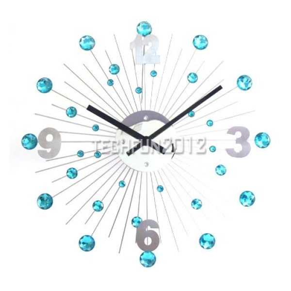 New Modern Stainless Steel Sunburst Crystal Wall Clock with Diamantes ...