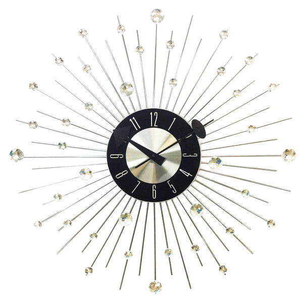 HGTV 20-inch Mid-century Modern Bling Crystal Jewels Wall Clock ...