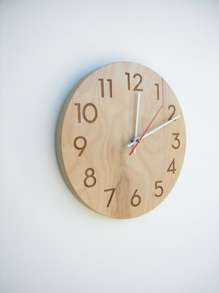 modern wall clock - modern numbers in natural birch. Can also pay to ...