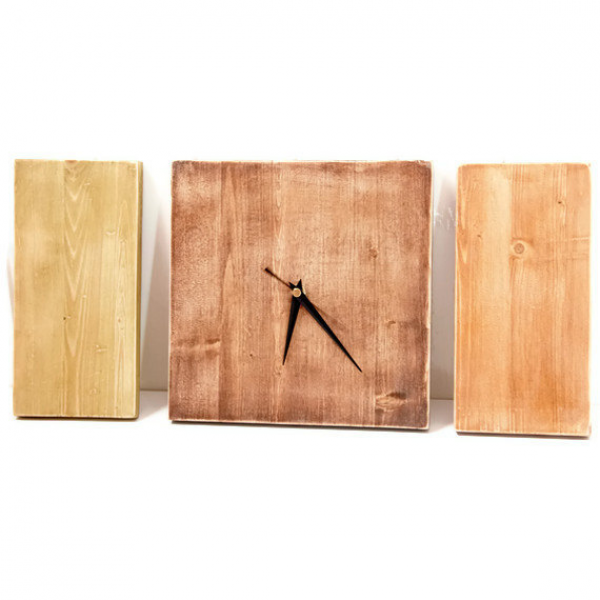 Modern Wall Clock, Wooden Natural, Minimal decor, autumn, customize ...