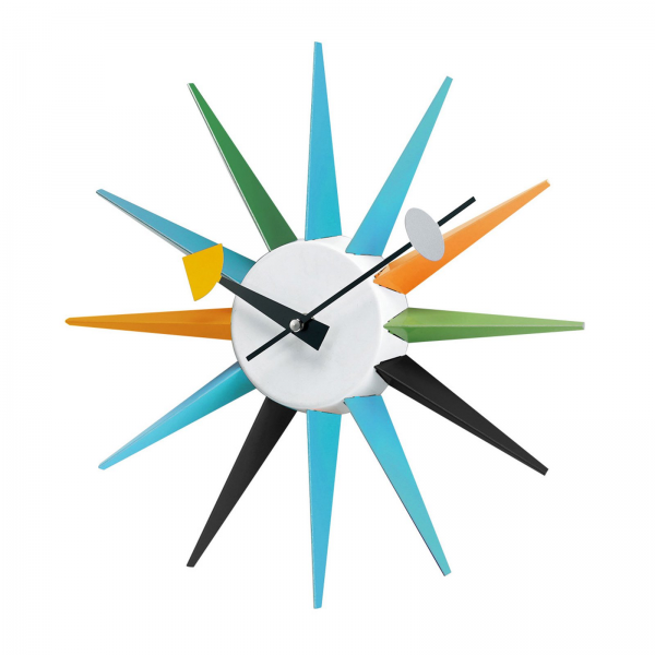 George Nelson Metal Boutique 13.5 in. Sunburst Wall Clock - Wall ...
