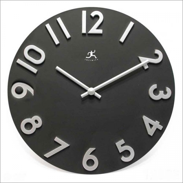 Contemporary Black Metal Wall Clock - Traditional Clocks
