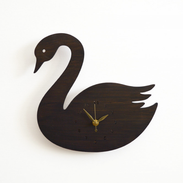 Modern Black Swan Wall Clock by DecoyLab - RosenberryRooms.com