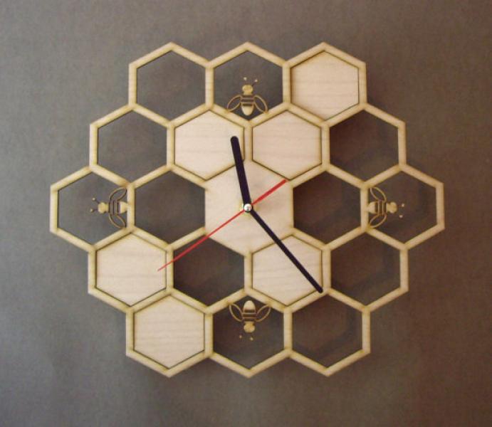 Handmade wooden wall clock HONEYCOMB by LaserCust on Etsy
