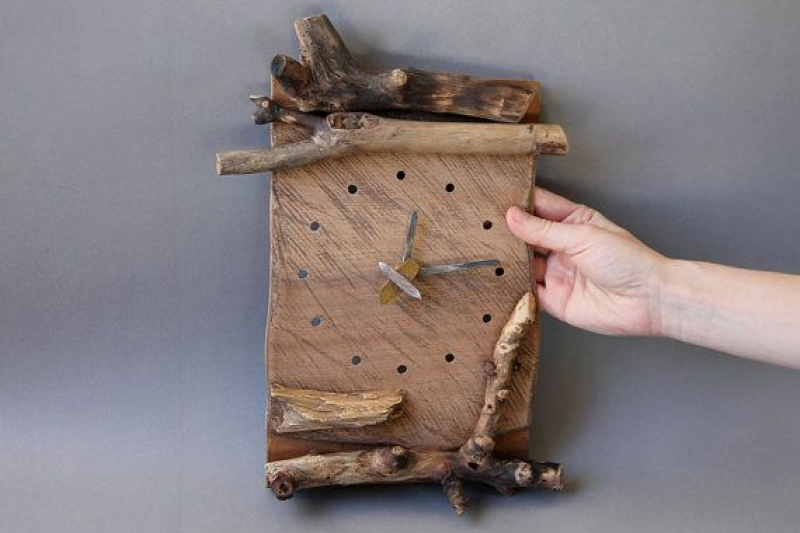 Handmade wooden wall clock wood driftwood branches by studiowetwo,