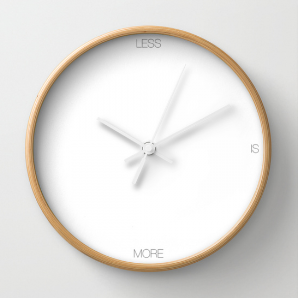 LESS Wall Clock by THE USUAL DESIGNERS | Society6