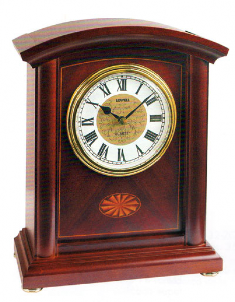 Solid Wooden Table Clock, Walnut Lacquer With Inlay