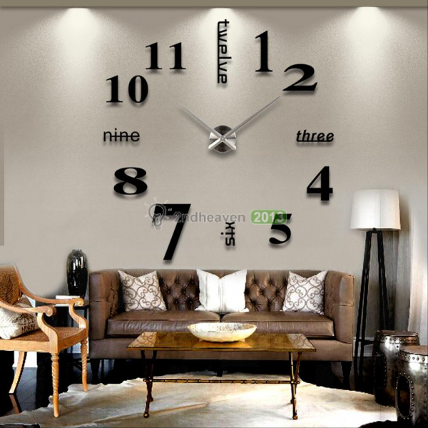 DIY Large Wall Clock 3D Mirror Surface Sticker Home Office Decor Black ...