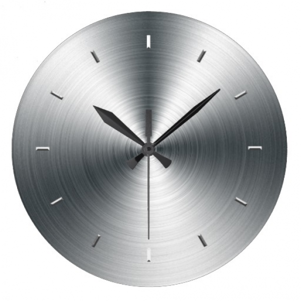 Faux Brushed Sheet Metal Wall Clock | Zazzle