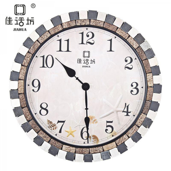 Korean fashion creative round wall clock modern bedroom living room ...